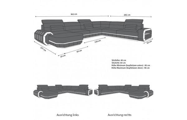 ROMA - kształt XL, układ lewy, materiał