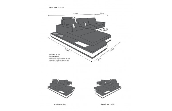 MESSANA - kształt L, układ lewy, materiał