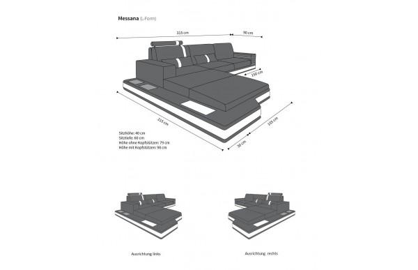 MESSANA - kształt L, układ prawy, materiał, funkcja leżenia