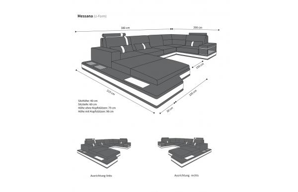 MESSANA - kształt U, układ lewy, materiał