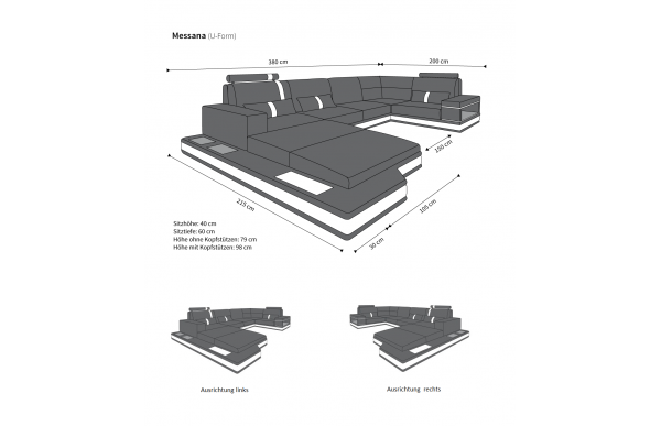 MESSANA - kształt U, układ prawy, materiał, funkcja leżenia