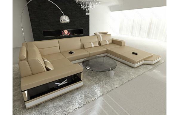MESSANA - U-shape, right orientation, eco leather, lying function