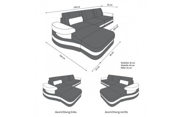 MODENA - kształt L, układ lewy, materiał, funkcja leżenia