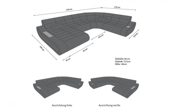 CONCEPT - kształt XL, układ lewy, skóra