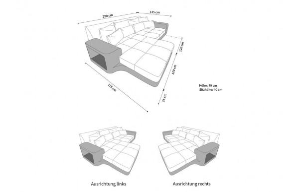MILANO - kształt L, układ prawy, materiał