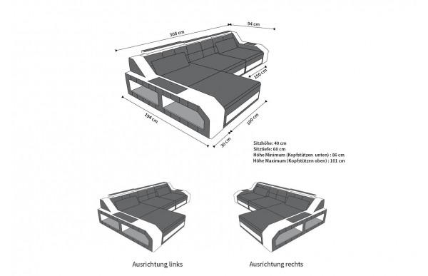 AREZZO - kształt L, układ prawy, materiał, funkcja leżenia