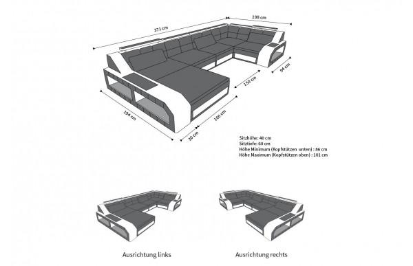 AREZZO - U-shape, left orientation, leather