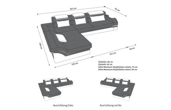 MONZA II - kształt L, układ lewy, materiał, funkcja leżenia