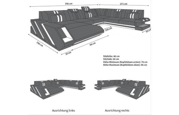 APOLLONIA - kształt XL, układ prawy, skóra, funkcja leżenia