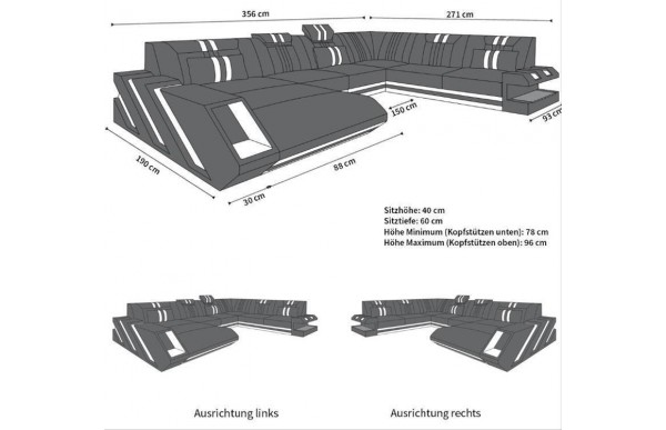 APOLLONIA - XL-shape, left orientation, eco leather