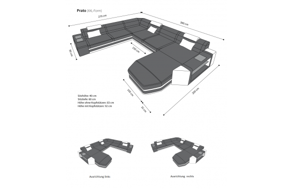 PRATO II - kształt XL, układ lewy, skóra, funkcja leżenia
