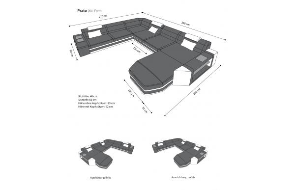 PRATO II - kształt XL, układ prawy, skóra, funkcja leżenia