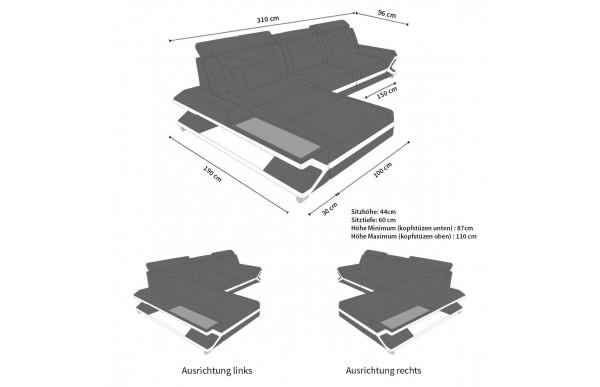 NAPOLI - kształt L, układ prawy, materiał, funkcja leżenia
