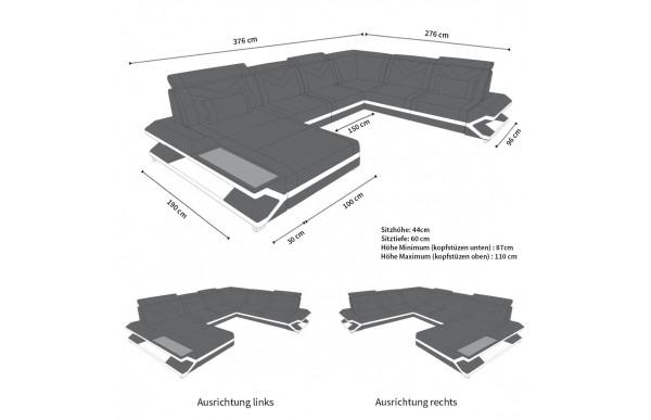 NAPOLI - kształt XL, układ lewy, skóra, funkcja leżenia