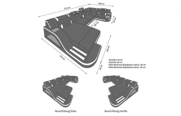 PALERMO - kształt U, układ prawy, materiał, funkcja leżenia