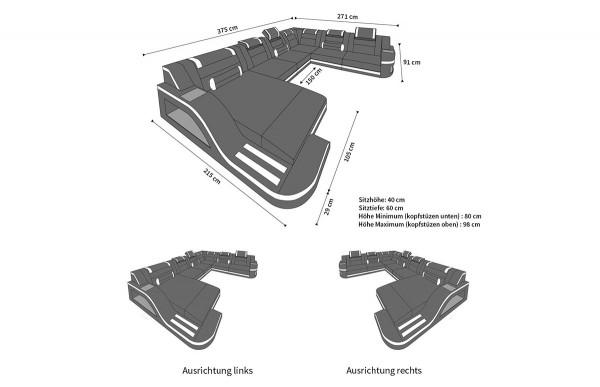 PALERMO - XL Form, Ausrichtung rechts, Leder, Schlaffunktion