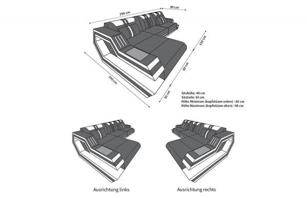 RAVENNA - L-shape, left orientation, textile, lying function