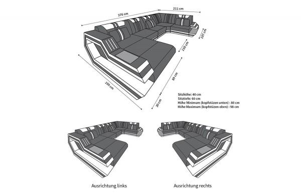 RAVENNA (K) - U-shape, right orientation, textile