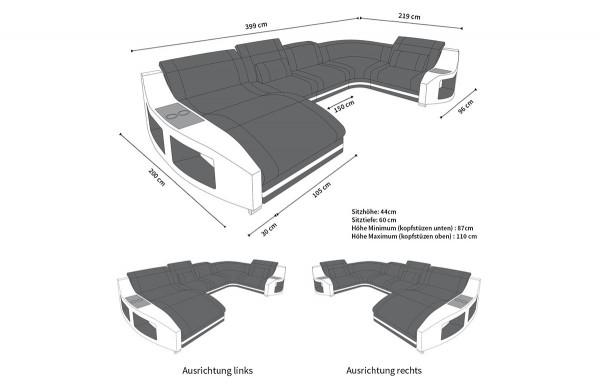 SWING - U-shape, left orientation, eco leather, lying function
