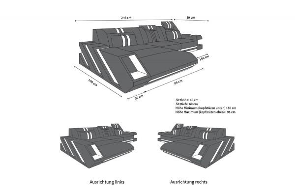 APOLLONIA (K) - L-shape, left orientation, leather, lying function