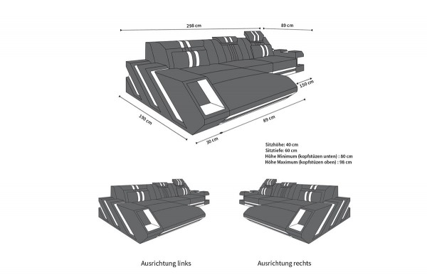 APOLLONIA (K) - L-shape, right orientation, textile