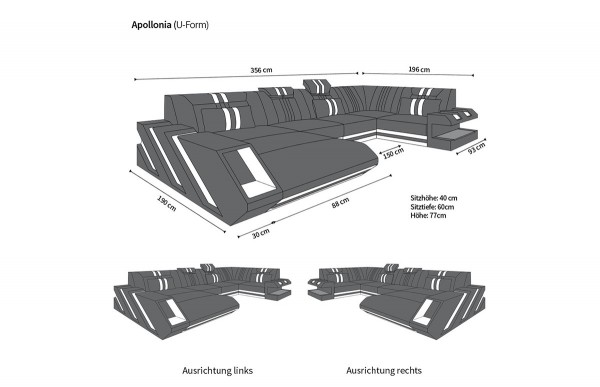 APOLLONIA - U-shape, right orientation, eco leather, lying function