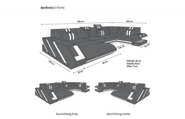 APOLLONIA - U-shape, right orientation, leather