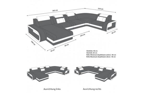 BERLIN - kształt U, układ prawy, skóra ekologiczna, funkcja leżenia