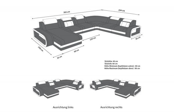 BERLIN - kształt XL, układ lewy, skóra, funkcja leżenia