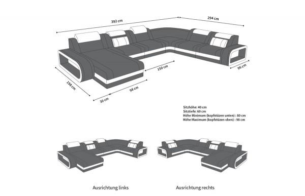 BERLIN - kształt XL, układ prawy, skóra, funkcja leżenia
