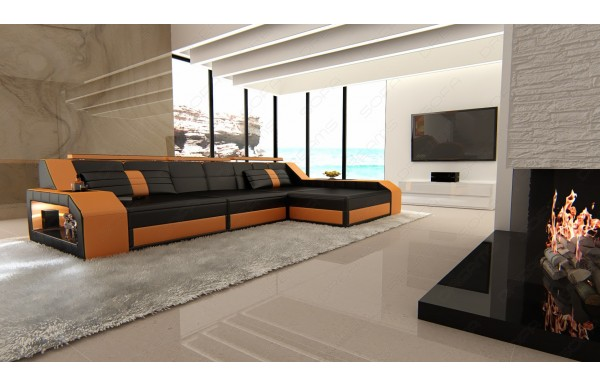 AREZZO - L-shape, right orientation, leather, lying function