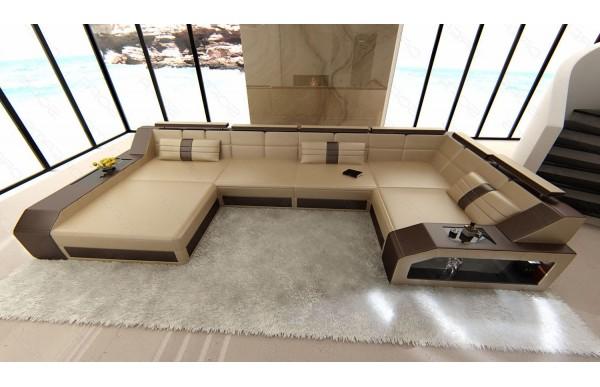 AREZZO - U-shape, left orientation, eco leather, lying function
