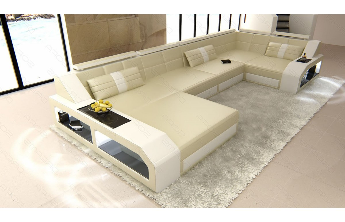 AREZZO - U-shape, left orientation, eco leather