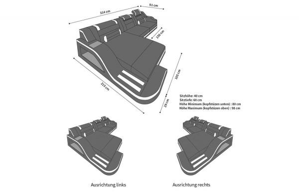 PALERMO - L-shape, left orientation, textile, lying function