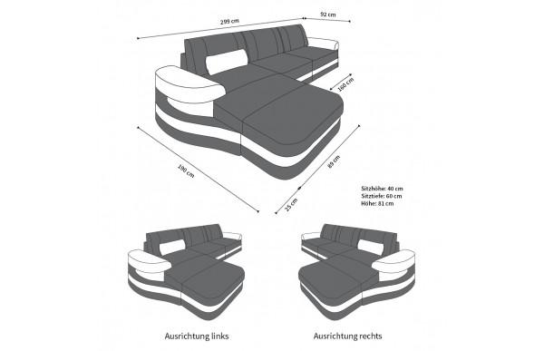 MODENA (K) - kształt L, układ prawy, materiał, funkcja leżenia